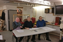Pictured here at the start of the meeting, Left, Cliff Sim, Treasurer. centre, Alec Mutch, Chairman. right, Peter Lawrence, secretary.