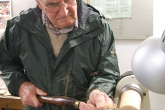 This is Bob Chisholm making a start on his 2 projects, Bob was to make a Christmas tree and a candle holder.