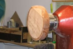 A blank of Beech on the lathe, ready to start my shallow plate.