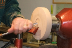 Now I'm forming the recess in the base for mounting on a chuck when I come to do the inside.