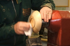 A coat of Melamine was used for the final finish, here I'm buffing the Melamine to a soft glow.