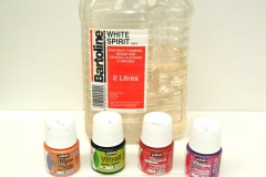 These were the Pebeo paints I used at the club along with some white spirit for cleaning the tools.