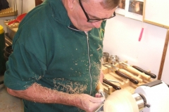 Now Dave can be seen shaping the base of his bowl.