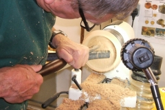 Dave starts the shaping of the inside of the bowl.