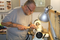 Free turner Colin MacKenzie as he makes a start on making wooden pens.