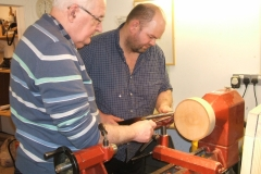Also first time on the lathe, Richard Comfort being mentored by John Ruickbie.