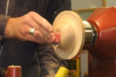 Here Andy is using a very fine sanding pad to finish off the sanding process.