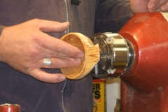 Andy used the lathe to hold the Quaich whilst he sanded the cut areas with a powerd sander.
