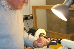 Bob working on a 2nd pen, this one was being made from a acrylic blank.