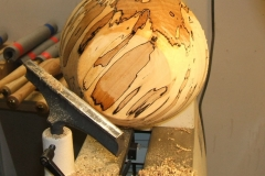 The outside of Geoff Potters spalted beech bowl now sanded and sealed.
