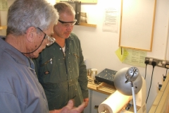 Here we have Errol Levings about to show Graham Charge the method used for long hole boring.