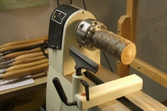 David Hutcheson's blank on the lathe ready to start, David was using a piece of Cherry.