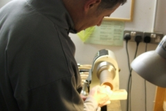 David Hutcheson on a second goblet, here he is sanding the inside of the cup.