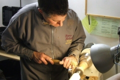 Here David Hutcheson is shaping the outside of a second goblet.