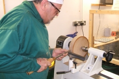 Another view of Colin as he works the outside rim with one of his tipped tools.