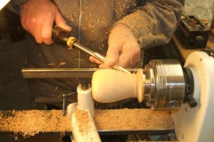 Here Douglas is making a Pear from a piece of Cherry wood using a spindle gouge.