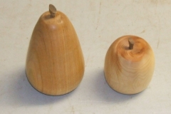 These are Douglas Stewart's completed fruits, the Cherry wood Pear and the Yew wood Apple.