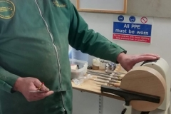 Here we have John Ruickbie as he sets up to start his turned clock. John was to make a clock using a chapter ring.