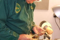Here we have John Ruickbie as he starts to make a wooden apple from a piece of Cherry wood.