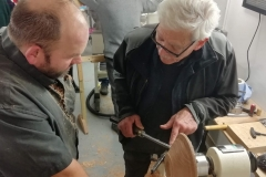 Here Richard is getting some advice from Errol Levings on the procedure for making the platter.