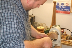 Here we have Richard Comfort as he makes a start on his lamp base, Richard was to use more than one piece.