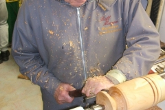 Here we have Bill Munro as he makes a start on his lamp base, Bill was to make his lamp from a single piece of wood.