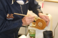 Here we have David Ross as he works his lamp base, David was to make his lamp out of more than one piece of wood.