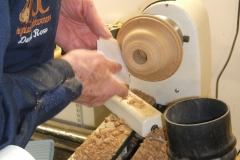 David Ross finishing the base part of his 2 piece lamp.