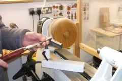 Here we have Bob Chisholm starting work on a Laburnum natural edged bowl.