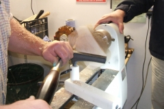 Richard mounted another blank on the lathe  and made a start on the outside.