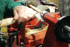 Here I'm making a start on the first cuts, only one tool was required for all the turning, a small spindle gouge.