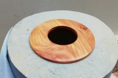 The finished disc of wood now sanded sealed and polished.