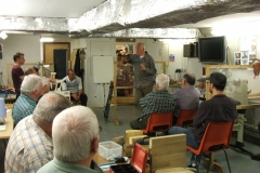 Here we have John Cheadle doing his talk on wet wood working at the start of his presentation.