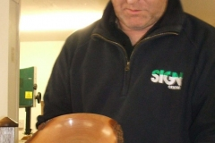 Here we have David Hutcheson showing on of his entries, a shallow natural edged bowl in Elm.