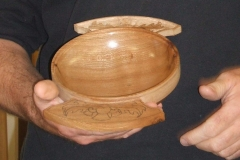 This is one of David's almost finished Quaich's, still some carving to do.