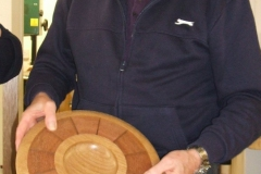Here we have Bill Munro, Bill is well known in the club for his laminated work, here he is showing a plate he had made.