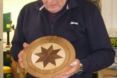 This is another of Bill's entries, a plate stand made from 3 different timbers.