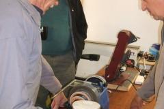 Errol Levings setting up his equipment, Errol was working 2 machines.
