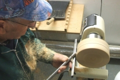 Here I am trying the second gouge for sharpness after re-grinding .