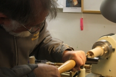Douglas Stewart making a start on his projects, Douglas was to make wooden bells.
