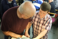 Here David is explaining to a very young enthusiast the art of woodturning.
