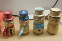 David brought along some snowmen he had made earlier by way of examples for the members to see.