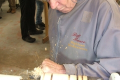 Bill was making a candle holder in Yew made for a pillar candle.