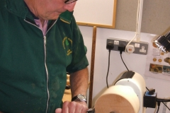 Dave Line was to make a small bowl from a piece of Ash, here he can be seen taking the first cuts.