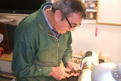Here we have Dave Line working on spindle turning, Dave was being supervised by Bill Munro.