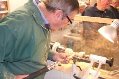 Dave Line working on the shaft of a goblet, here he is getting close to completion.