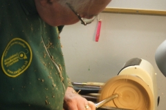 John Ruickbie working the inside of his bowl, here he's almost finished with the cuts.
