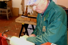 The first job was to make the blank round, here I'm using a 3/8th bowl gouge to bring the blank to a cylinder.