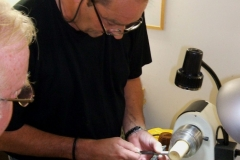 Here James got one of the members to have a go at doing some threading under his supervision.
