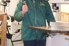 John was to demonstrate how to set up a bandsaw safely, the first job was to unplug it from any power source.